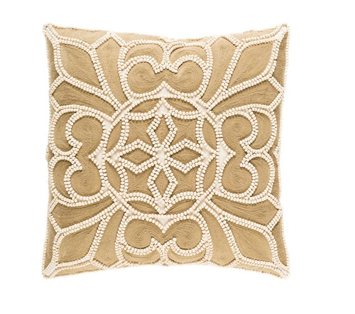 """22"""" Brown and White Square Contemporary Throw Pillow - IMAGE 1"""