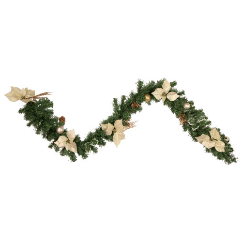 "6' x 9"" Poinsettia and Pinecone Artificial Christmas Garland - Unlit - IMAGE 1"