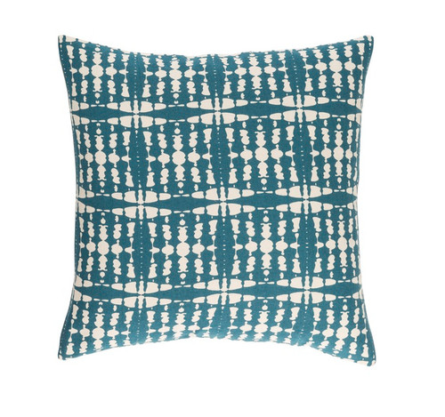"""22"""" Blue and White Contemporary Square Throw Pillow - Down Filler - IMAGE 1"""