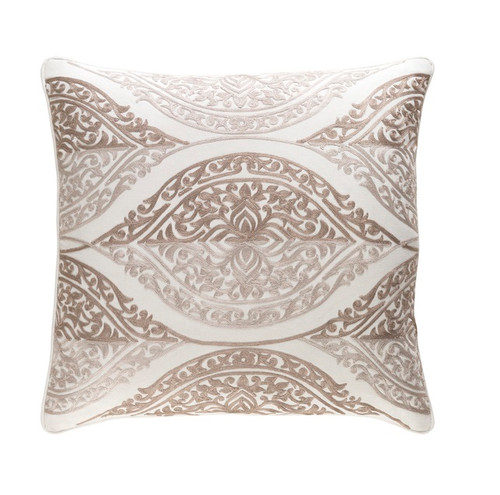 """20"""" Chocolate Brown and White Chevron Square Throw Pillow - Down Filler - IMAGE 1"""