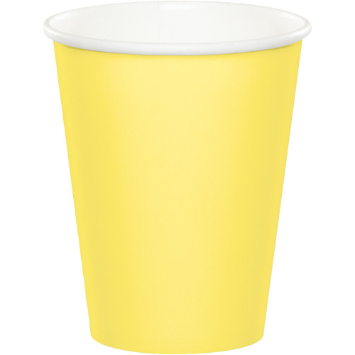 Club Pack of 240 Mimosa Yellow Disposable Paper Hot and Cold Party Tumbler Cups 9 oz. - IMAGE 1