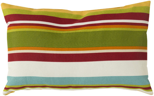 """20"""" Green and Red Striped Rectangular Throw Pillow - IMAGE 1"""