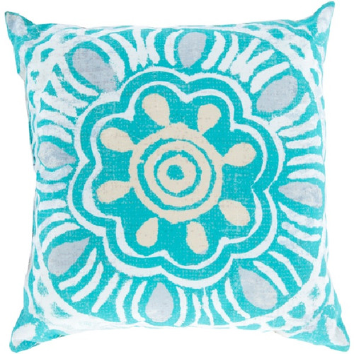 """26"""" Blue and White Floral Contemporary Square Throw Pillow Cover - IMAGE 1"""