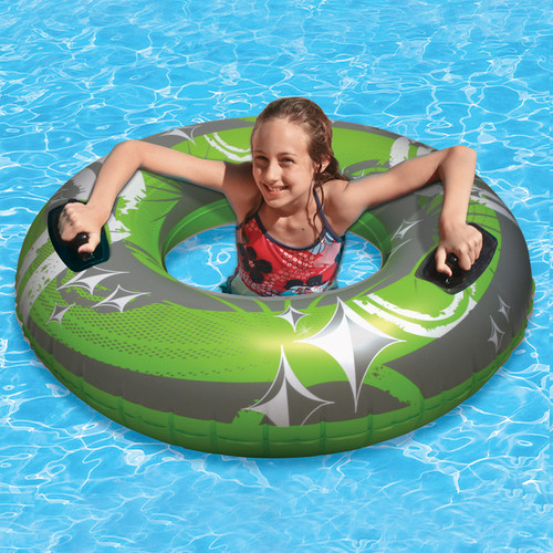 """50"""" Inflatable Green and Gray Giant Swimming Pool Inner Tube - IMAGE 1"""