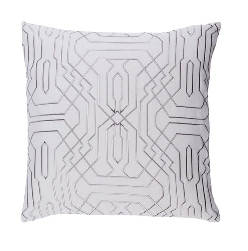 """22"""" Smoke Gray and Ivory Geometric Square Throw Pillow - Down Filler - IMAGE 1"""