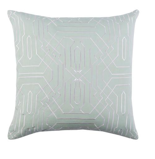 "20"" Seafoam Green and White Geometric Square Throw Pillow - IMAGE 1"