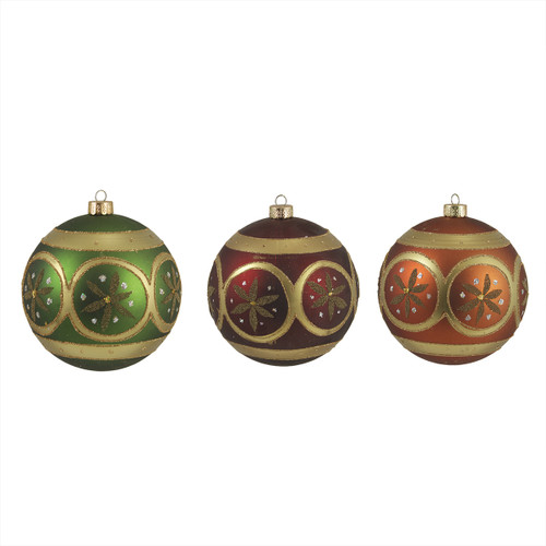 """3ct Vibrantly Colored Earth Tone Floral Glitter Shatterproof Christmas Ball Ornaments 4.75"""" (120mm) - IMAGE 1"""