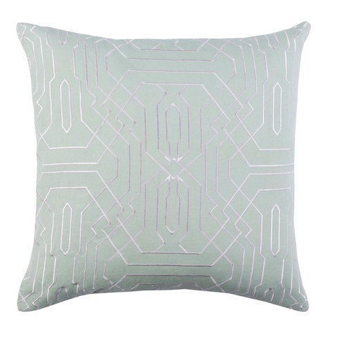 "22"" Seafoam Green and White Geometric Square Throw Pillow - IMAGE 1"