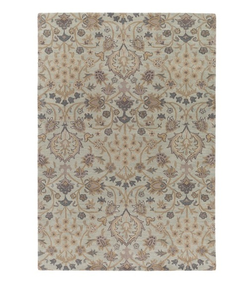 9' x 13' English Botany Brown and Blue Contemporary Hand Tufted Floral Rectangular Wool Area Throw Rug - IMAGE 1