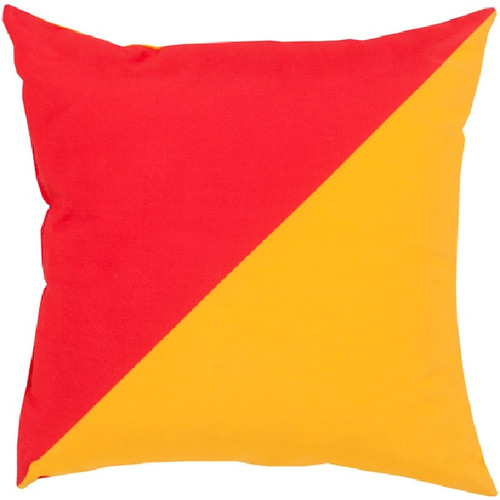 """20"""" Orange and Yellow Diagonal Contemporary Square Throw Pillow Cover - IMAGE 1"""