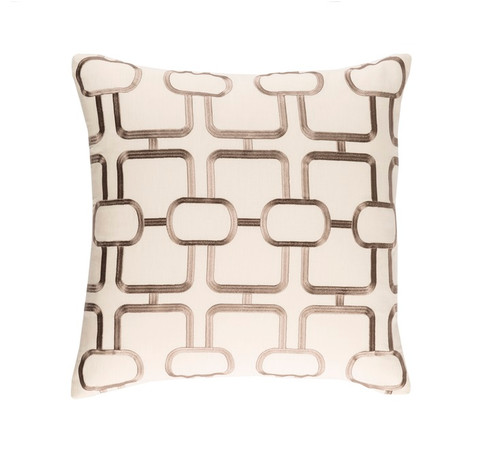 "22"" Beige and Brown Woven Square Throw Pillow - Down Filler - IMAGE 1"
