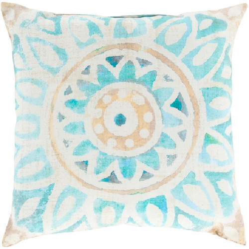 """18"""" Peach Orange and Blue Floral Contemporary Square Throw Pillow Cover - IMAGE 1"""