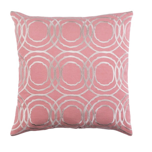 """20"""" Pale Pink and Ivory Geometric Square Throw Pillow - Down Filler - IMAGE 1"""