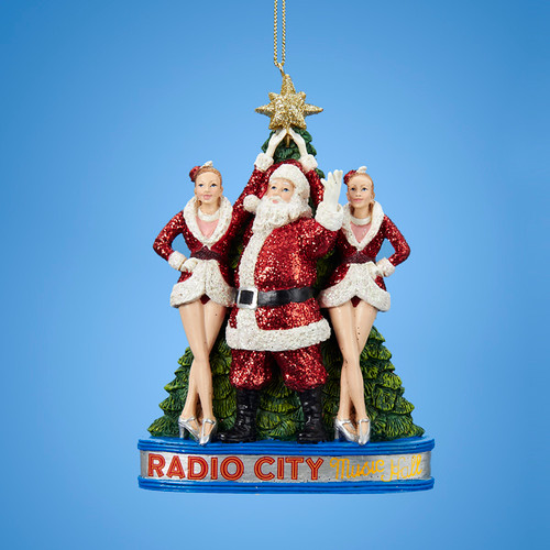 """5"""" Glittered Santa Claus with the Rockettes at Radio City Music Hall Christmas Ornament - IMAGE 1"""