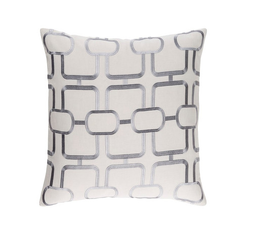 """22"""" White and Gray Woven Square Throw Pillow - Down Filler - IMAGE 1"""