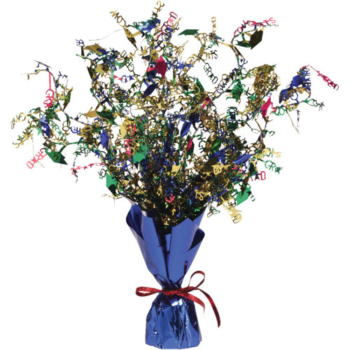 """Pack of 6 Blue and Red Congrats Grad Spray Centerpieces with Base15"""" - IMAGE 1"""