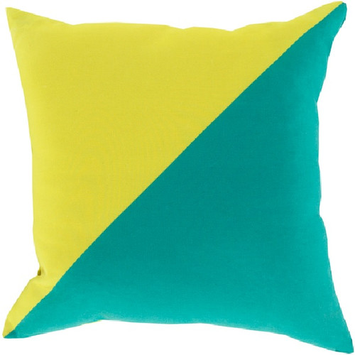 "20"" Yellow and Green Diagonal Contemporary Square Throw Pillow Cover - IMAGE 1"