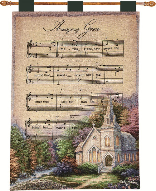 """Nicky Boehme Colorful Lush Country Scene with """"Amazing Grace"""" Hymn Wall Art Hanging Tapestry 26"""" x 36"""" - IMAGE 1"""