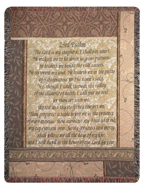 """Beige and Brown Biblical Religious Tapestry Throw Blanket 50"""" x 60"""" - IMAGE 1"""