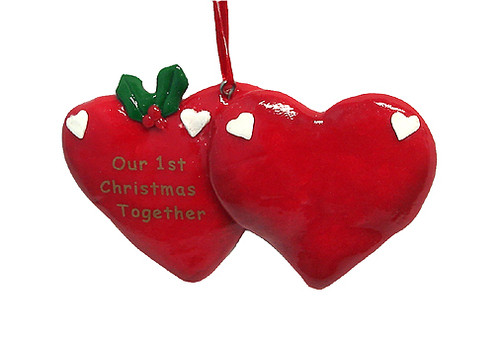 """24ct Red and Green Our 1st Christmas Together Christmas Ornaments 4.25"""" - IMAGE 1"""