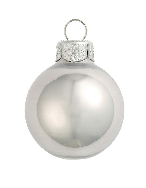 "4ct Shiny Champagne Silver Glass Ball Christmas Ornaments 3.25"" (80mm) - IMAGE 1"