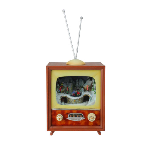 "10"" Musical Retro Christmas Television Figure Decoration - IMAGE 1"