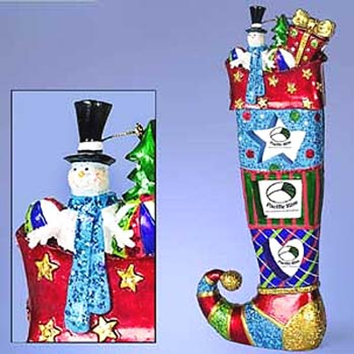 """9"""" Red and Blue Sparkle Bright Stocking Frame Christmas Ornament - IMAGE 1"""