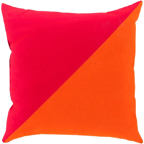 """20"""" Pink and Orange Diagonal Contemporary Square Throw Pillow Cover - IMAGE 1"""
