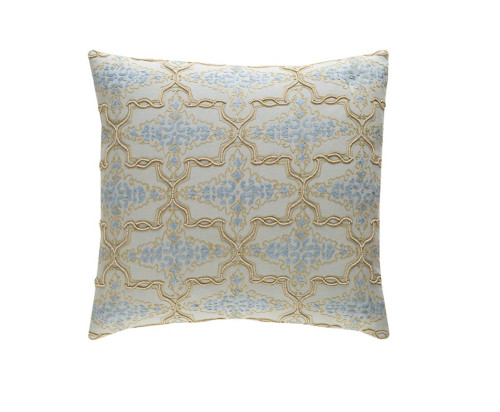 "18"" Blue and Gold Embroidered Square Throw Pillow - IMAGE 1"