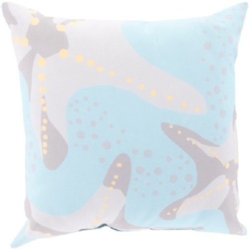 "20"" Gray and Blue Nautical Starfish Contemporary Square Throw Pillow Cover - IMAGE 1"