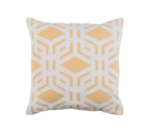 """18"""" Beige and Yellow Rhomboidal Tribe Contemporary Square Throw Pillow - Down Filler - IMAGE 1"""