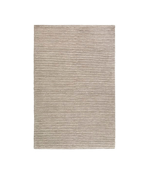 6' x 9' Beachy Boardwalk Fog Gray and Deep Creek Brown Hand Woven Wool Area Throw Rug - IMAGE 1