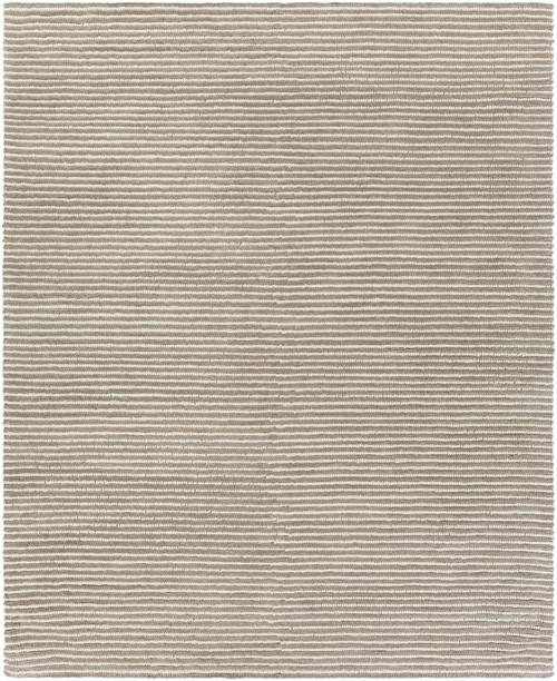 8' x 10' Beachy Boardwalk Fog Gray and Deep Creek Brown Hand Woven Wool Area Throw Rug - IMAGE 1