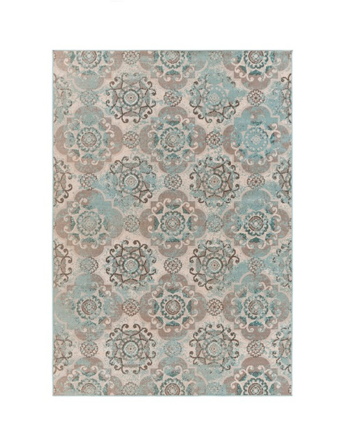 2.50' x 5' Potted Vintage Blue and Ash Gray Area Throw Rug - IMAGE 1