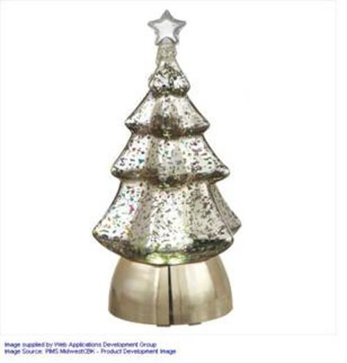 "8.5"" Pre-Lit Silver Christmas Tree Tabletop Decor - IMAGE 1"