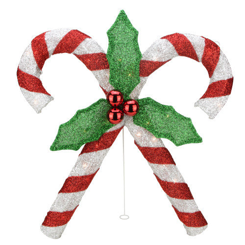 """26"""" Red and White Double Candy Cane Lighted Outdoor Christmas Decor - IMAGE 1"""