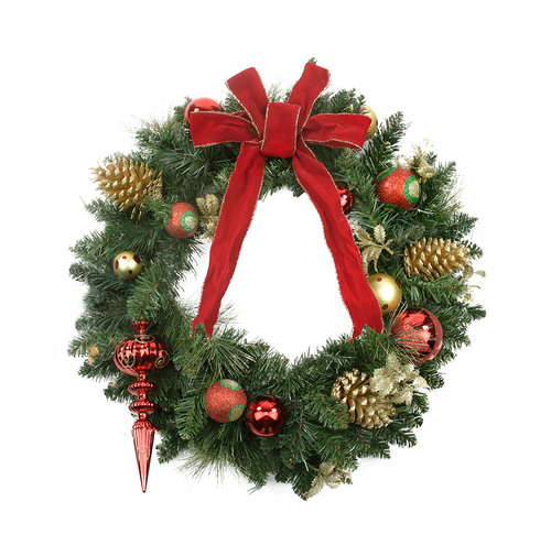 Pre-Decorated Red Bow and Ornaments with Pinecones Artificial Christmas Wreath - 24-Inch, Unlit - IMAGE 1