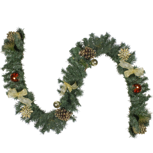 6' Pre-Decorated Copper and Gold Ball Ornament and Bow Artificial Christmas Garland - Unlit - IMAGE 1