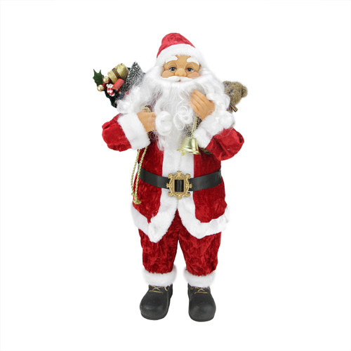 "24"" Traditional Red and White Standing Santa Claus Christmas Figure with Gift Sack - IMAGE 1"