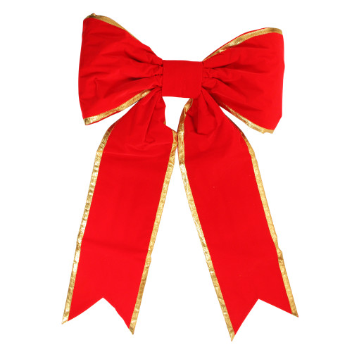 """36"""" x 50"""" Commercial Structural 2-Loop Red and Gold Outdoor Christmas Bow - IMAGE 1"""
