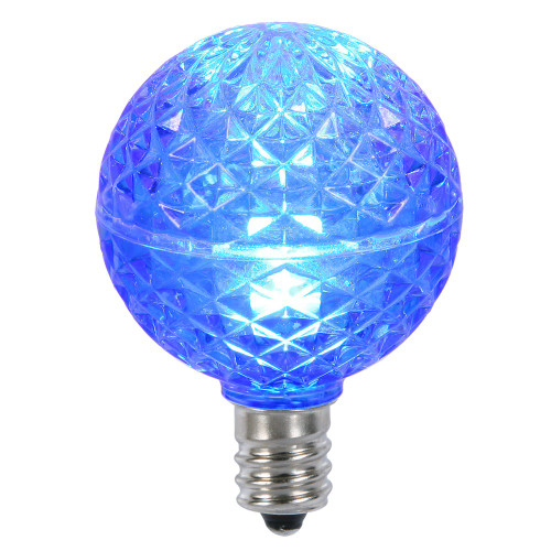 Club Pack of 25 LED G40 Blue Faceted Replacement Christmas Light Bulbs - IMAGE 1