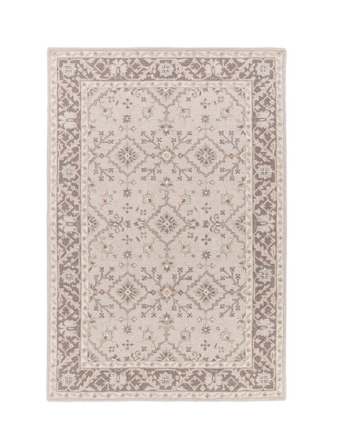 2' x 3' Medallion Brown and Gray Hand Tufted Rectangular Wool Area Throw Rug - IMAGE 1