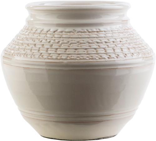 """9"""" Textured Piccoli Khaki Indoor/Outdoor Decorative Ceramic Vase - IMAGE 1"""