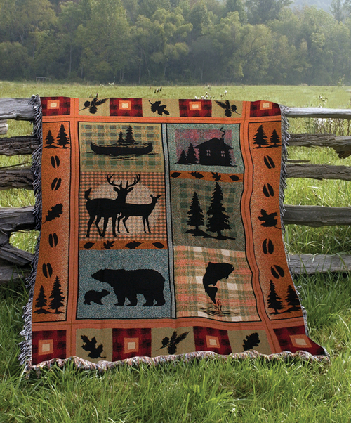 """Orange and Black Contemporary Plaid Tapestry Throw Blanket 50"""" x 60"""" - IMAGE 1"""