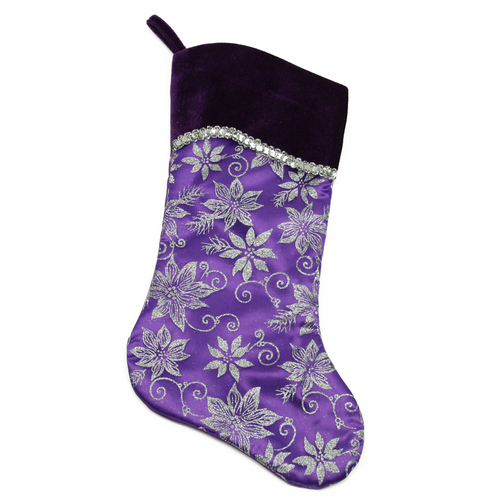 """20"""" Purple and Silver Glittered Floral Christmas Stocking with Shadow Velveteen Cuff - IMAGE 1"""