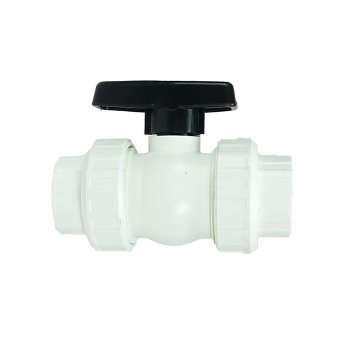 "7"" White and Black HydroTools Swimming Pool ABS Female Socket Ball Valve - IMAGE 1"