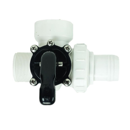 6.25-Inch White HydroTools Swimming Pool and Spa Standard Right Outlet 3-Way Valve - IMAGE 1