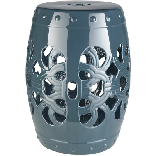 "18"" Brinnon Smokey Blue-Gray Outdoor Decorative Patio and Garden Stool - IMAGE 1"