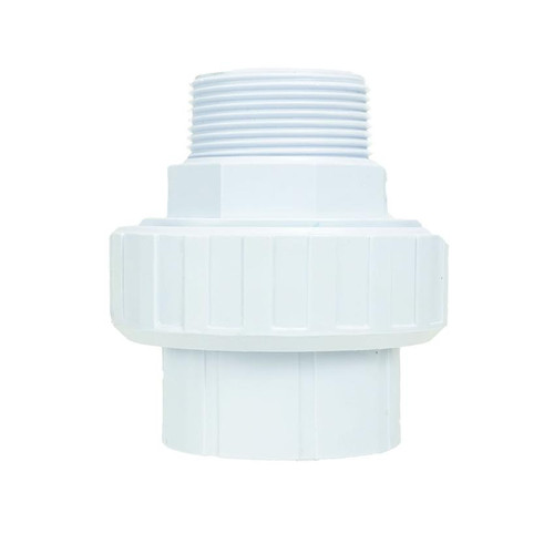 "3.75"" White HydroTools Swimming Pool Standard ABS Female Socket and Male Threaded Union - IMAGE 1"