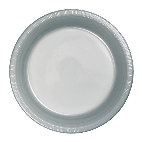 """Club Pack of 600 Shimmering Silver Plastic Party Banquet Dinner Plates 10"""" - IMAGE 1"""